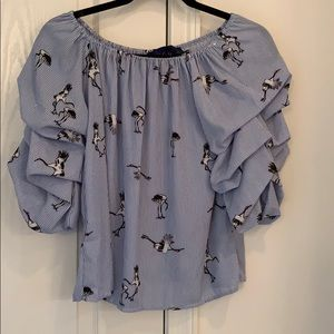 On or off the shoulder blue rain blouse
